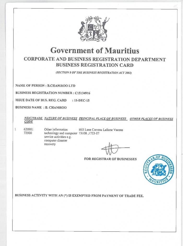 LOG IN POS System Business Registration Card
